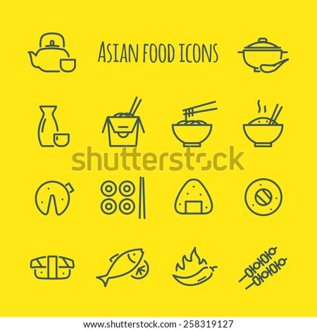 Asian food Line Icons Set - stock vector