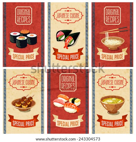 Asian food original recipes japanese cuisine special price banners set isolated vector illustration - stock vector