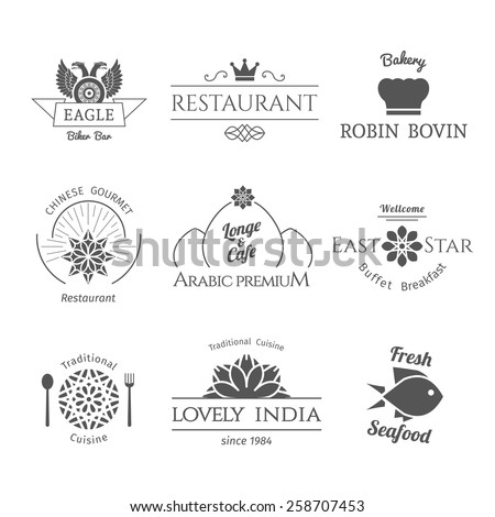 Asian isolated food logo templates set. Vector ethnic ornamental design for restaurants and cafes. - stock vector