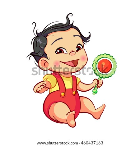 Asian little baby boy sitting playing with a toy rattle. Cartoon baby character with black hair. Children's games in the first year of life. Colorful vector illustration isolated on white background. - stock vector