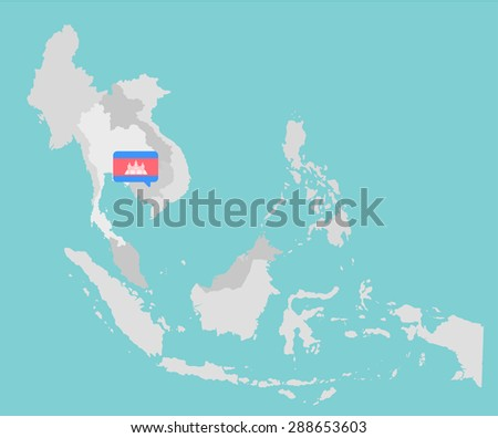 Asian map with cambodia point flag flat design vector - stock vector
