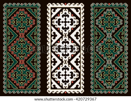 Asian ornaments collection. Historically ornamental of nomadic people. It based on real-Kazakh carpets of felt and wool. Mirror-symmetric illustrations. Region Of Shymkent  - stock vector