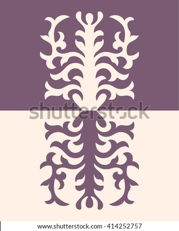 Asian ornaments collection. Historically ornamental of nomadic people. It based on real Kazakh art of felt and wool carpet. Mirror-symmetric illustrations. Region Of Shymkent  - stock vector