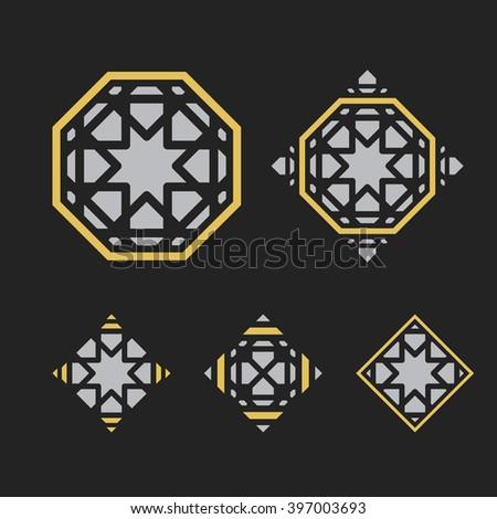 Asian ornaments. Vector arabic geometric symbols set - stock vector