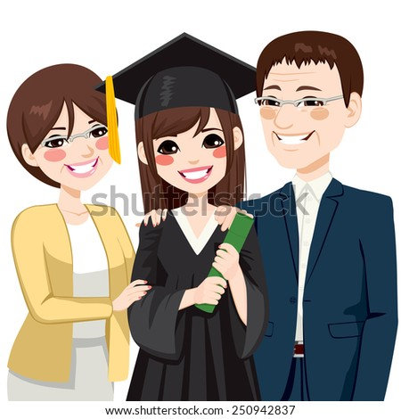 Asian parents standing proud and happy of daughter holding diploma on graduation day ceremony - stock vector