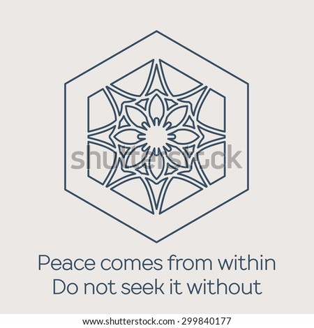 Asian religious circular ornament. Vector illustration with lineart mandala and Buddha quote - stock vector