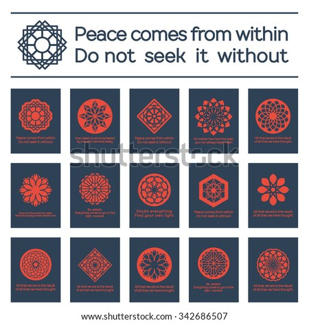 Asian religious posters with Buddha quotes. Vector set - stock vector