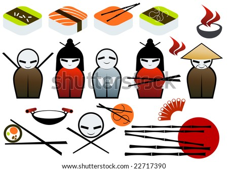 asian restaurant symbol collection - stock vector