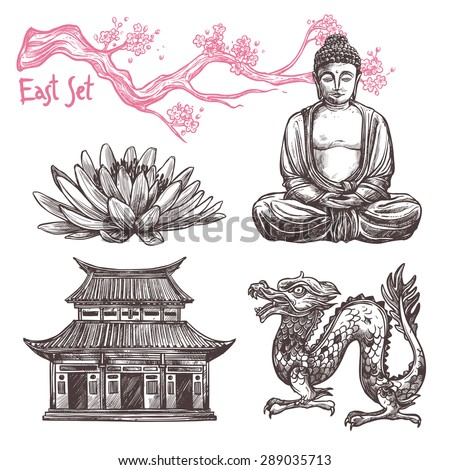 Asian sketch set with lotus buddha dragon sakura branch isolated vector illustration - stock vector
