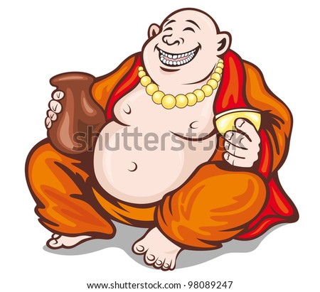 Asian smiling monk in cartoon style. Vector illustration - stock vector