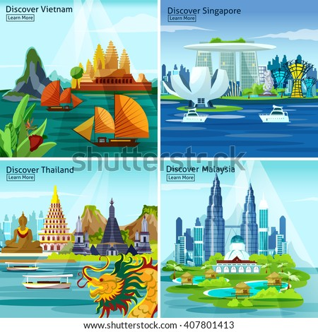 Asian travel 2x2 design concept with vietnam thailand singapore and malaysia colorful landscape compositions flat vector illustration - stock vector