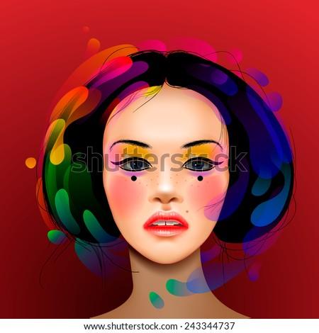 Asian woman beauty face portrait, vector illustration. - stock vector