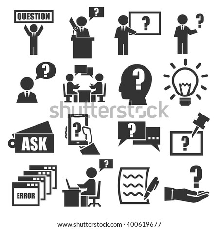 ask, question icon set - stock vector