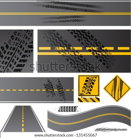 Asphalt road vector with tire tracks - stock vector