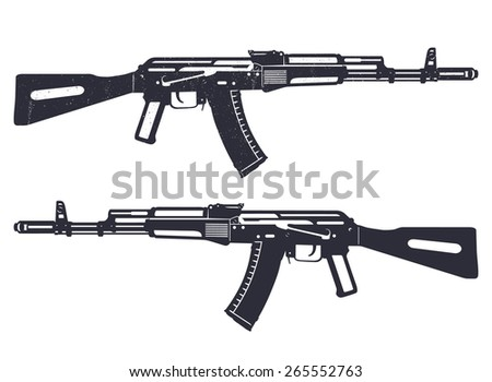 assault rifle grunge vector illustration, eps10, easy to edit - stock vector