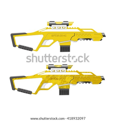 Assault rifle in cartoon style. Game's weapon. Vector illustration - stock vector