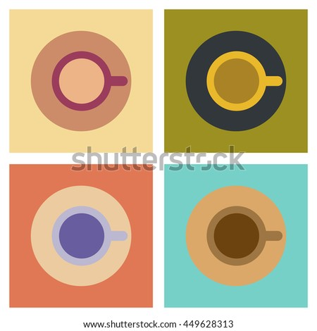 assembly flat icons coffee cup flavor - stock vector