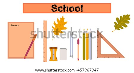 assembly flat icons on stylish background pencils pens ruler - stock vector
