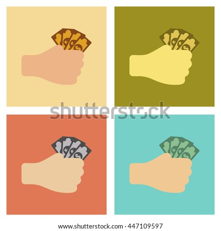 assembly flat icons poker money in hand - stock vector