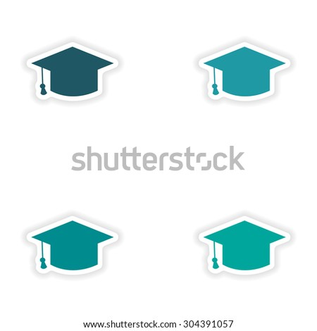 assembly realistic sticker design on paper academic cap - stock vector