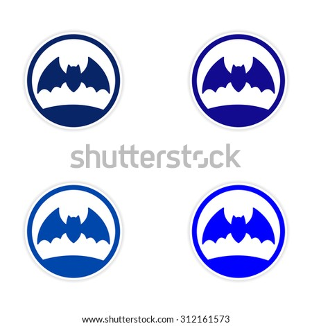 assembly realistic sticker design on paper bat  - stock vector