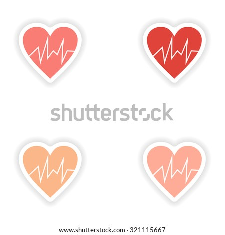 assembly realistic sticker design on paper logo cardiology - stock vector