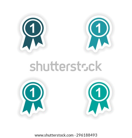 assembly realistic sticker design on paper medal  - stock vector