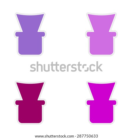 assembly realistic sticker design on paper shisha bowl  - stock vector