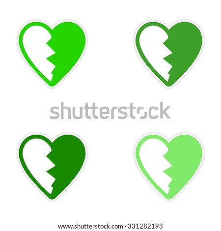 assembly sticker bright heart broken into pieces on white background - stock vector