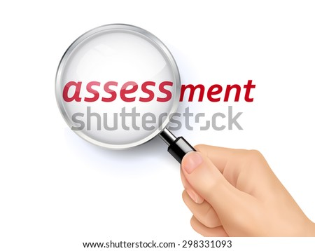 assessment showing through magnifying glass held by hand - stock vector