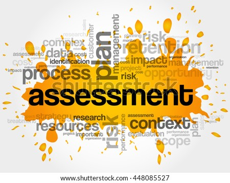 ASSESSMENT word cloud collage, business concept background - stock vector