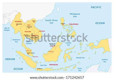 association of southeast Asian nations (ASEAN) map - stock vector
