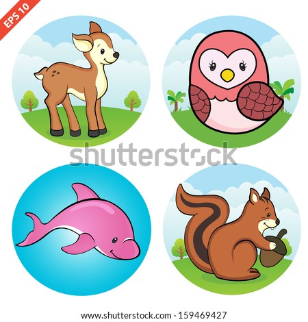 Assorted Animal cliparts (VECTOR) - stock vector