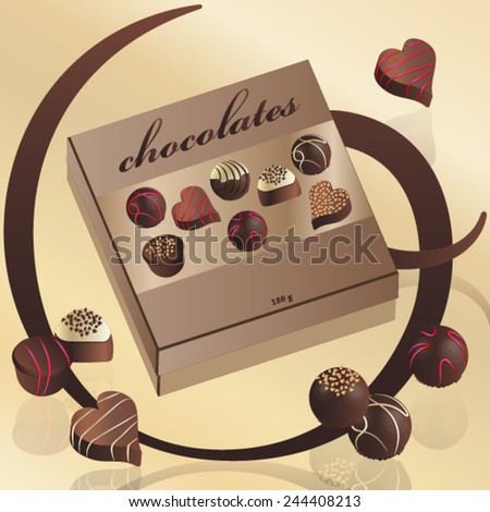 Assorted chocolate candy in a box - stock vector