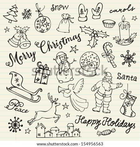 Assorted Christmas icons doodle vector - stock vector