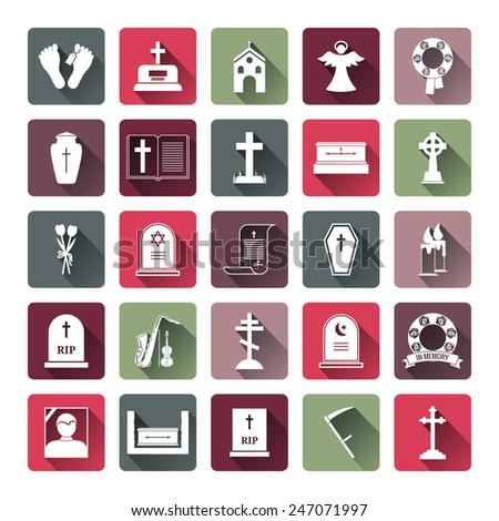 Assorted Colored Funeral Icon Set Emphasizing Tombstone  Angel  Coffin  Church and Cross Icons - stock vector