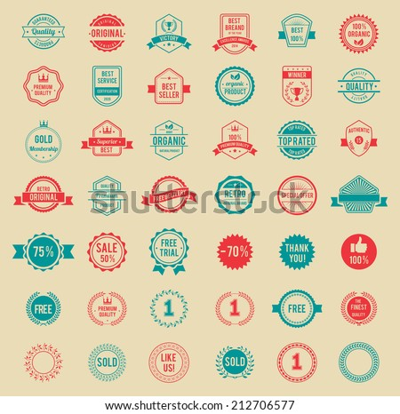 Assorted Designs Vector Colored Vintage Badges and Labels - stock vector