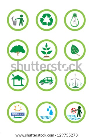 Assorted Eco-friendly icons and think green signs inside a circle. Ideal for packaging and environmental posters and designs. - stock vector