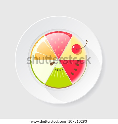 Assorted fruit cake icon - stock vector