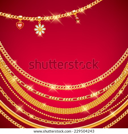 Assorted golden chains on red background with gemstone pendants. Luxury design. - stock vector
