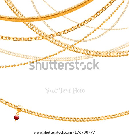 Assorted golden chains on white background with glass bead pendant. - stock vector