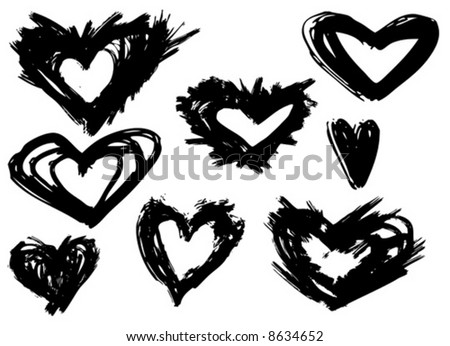 Assorted Grunge brush strokes of the heart symbols - stock vector
