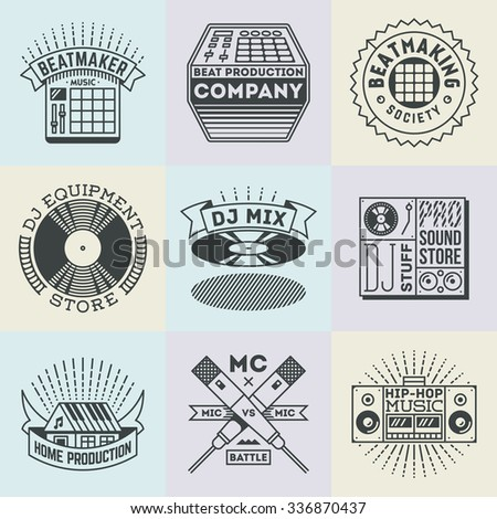 Assorted Hip-Hop Music Insignias Logotypes Template Set. Line Art Vector Elements. - stock vector