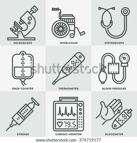 Assorted Medical Devices Icon Set. Line Design Vector Illustrations. - stock vector