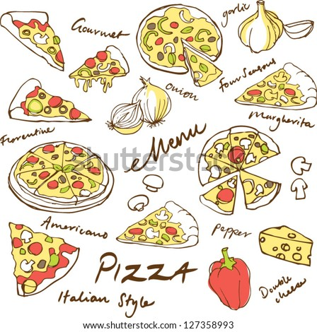 Assorted pizza vector illustrations - stock vector