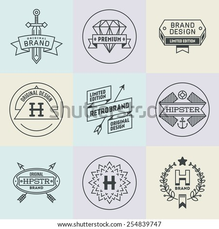 Assorted retro design hipster insignias logotypes set 2. Vector vintage elements. - stock vector