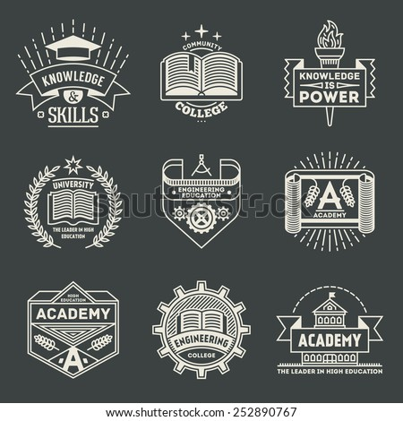 Assorted retro design insignias high education logotypes set 2. Vector vintage elements. - stock vector