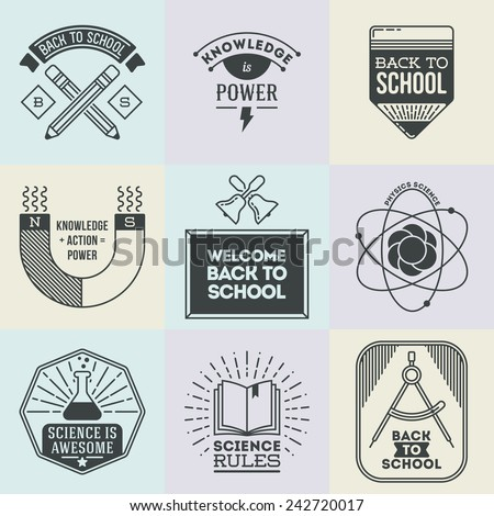 Assorted retro design insignias logotypes school and science set. Vector vintage elements. - stock vector