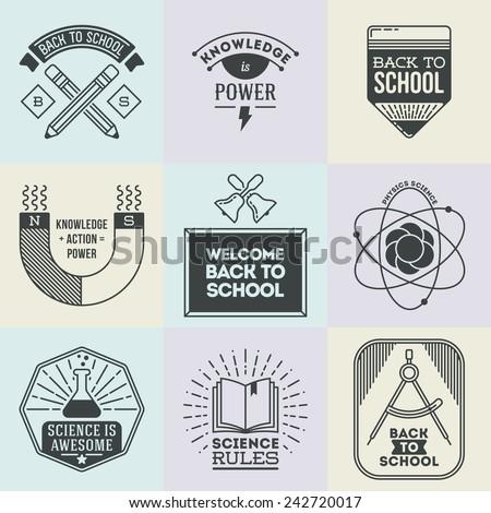 Assorted retro design insignias logotypes school and science set. Vector vintage elements. - stock vector