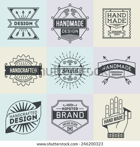 Assorted retro design insignias logotypes set 10. Vector vintage elements. - stock vector
